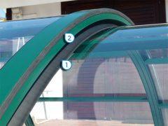 1. Segmentgummi aus EPDM Wind- und Schmutzabweiser 2. Profilegummi aus EPDM