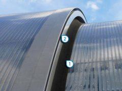 1. Segmentgummi aus EPDM Wind- und Schmutzabweiser 2. Belüftung für Mehrkammerplatte